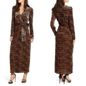 WAYF Arlene Tiger Print Wrap Velvet Dress XS NWT
